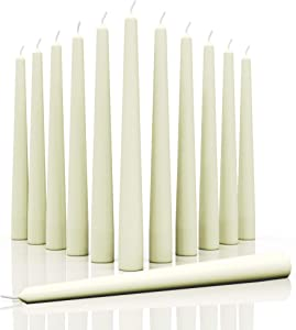 Candwax 12 inch Taper Candles Set of 12 - Dripless and Smokeless Candle Unscented - Long Burning Hand-Dipped Tapered Candles Perfect for Home Interior - Ivory Candles
