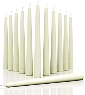 CANDWAX 12 inch Taper Candles Set of 12 - Dripless and Smokeless Candle Unscented - Slow Burning Candle Sticks are Perfect As Christmas Taper Candles - Ivory Candles
