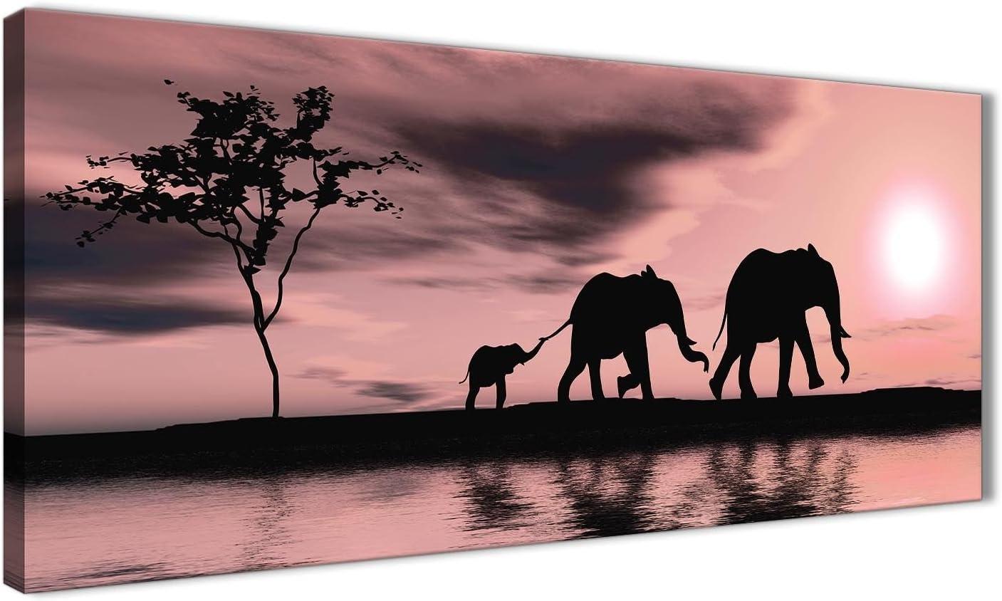 color rosa Wallfillers Lienzo decorativo para pared 1361 dise/ño de elefantes africanos 120 cm de ancho