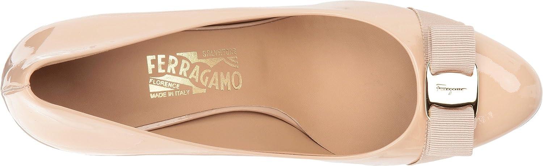 1e072e90c8d Amazon.com  Salvatore Ferragamo Women s Calfskin Mid-Heel Pump New Blush  Patent 9 B US B  Shoes