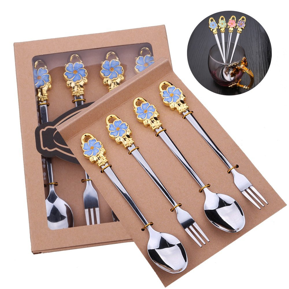 4-Piece Unique Colour Enamels Stainless Steel Flower Spoon Set -Tableware Includes Forks & Spoons - Fruit Dessert Coffee Spoons Teaspoon for Kitchen Dining (Blue)