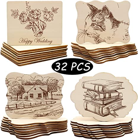 Writing Coasters and Home Decorations. Pyrography Painting Christmas Unfinished Wood Ornaments Photo Props PETUOL 32pcs 4x3 inch Creative Irregular Blank Wood Natural Slices for DIY Crafts