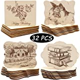 Unfinished Wood Ornaments, PETUOL DIY 32pcs 4x3in Creative Irregular Blank Wood Natural Slices for DIY Crafts, Painting…