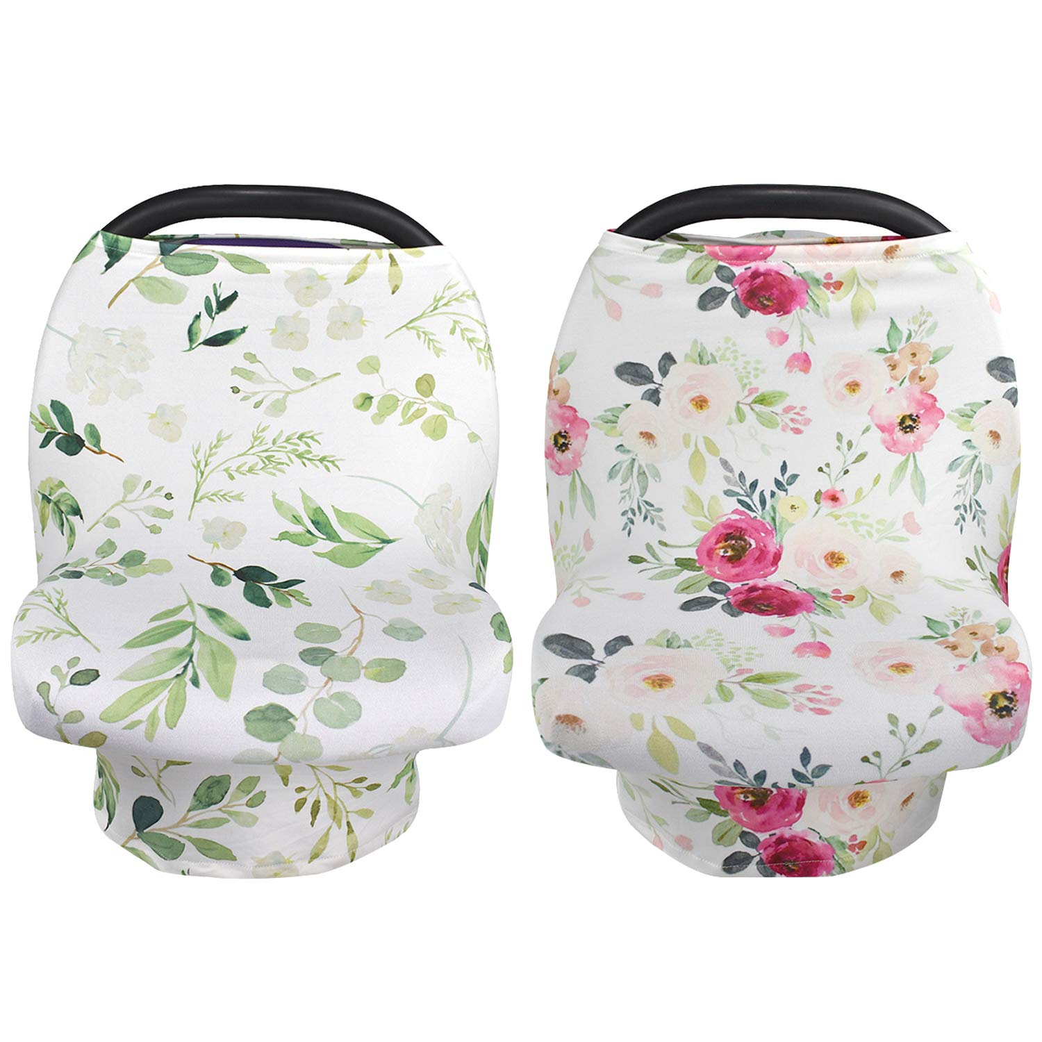 Car seat Canopy for Girls and Boys NEWITIN 2 Pieces Nursing Cover Breastfeeding Scarf Baby Car Seat Covers Infant Stroller Cover