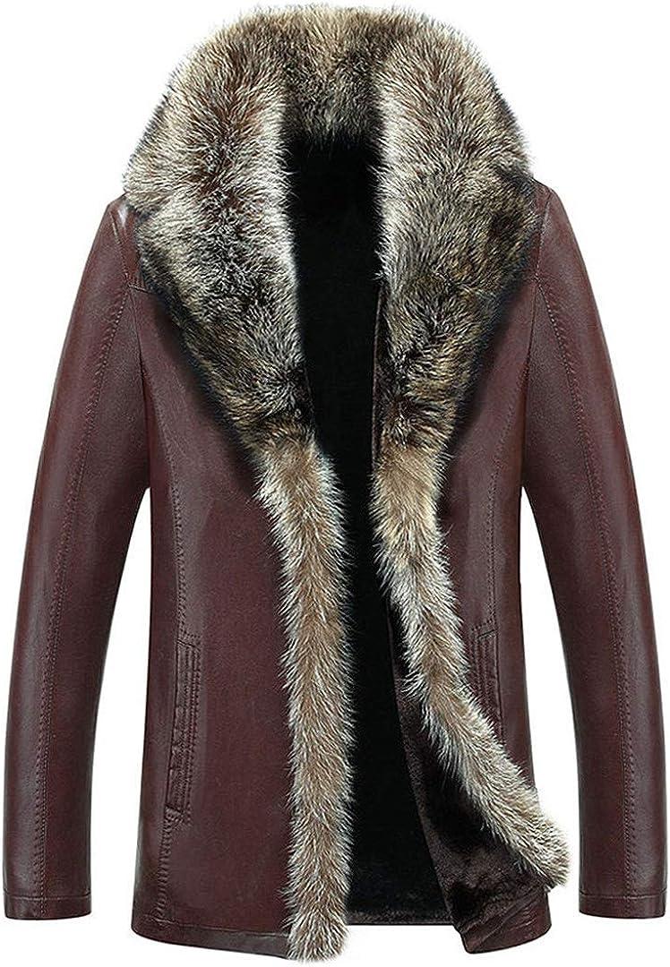 Los Hombres Calientes del Invierno Abrigo imitación Cuero Chaqueta Cuello Piel Abrigos