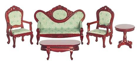 Amazon.com: Dollhouse Miniature Victorian Living Room Set, 5 ...