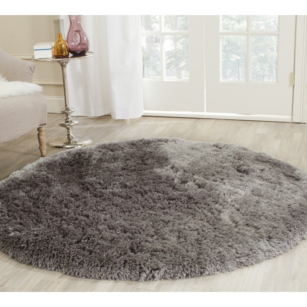 Amazon.com: Safavieh Arctic Shag Collection SG270G Handmade Grey Polyester  Round Area Rug (5u0027 Diameter): Kitchen U0026 Dining