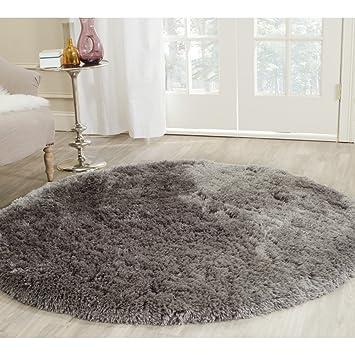 Safavieh Arctic Shag Collection SG270G Handmade Grey Polyester Round Area  Rug (5u0027 Diameter)