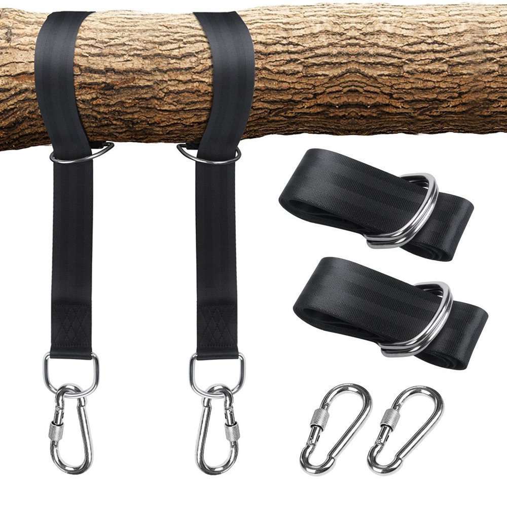 amalfor Tree Swing Hanging Straps Kit Holds 2200lbs, 5ft Long Adjustable Straps with 2 Stainless Steel Safer Lock Snap Carabiner Hooks Perfect for Swings and Hammocks,Pack of 2