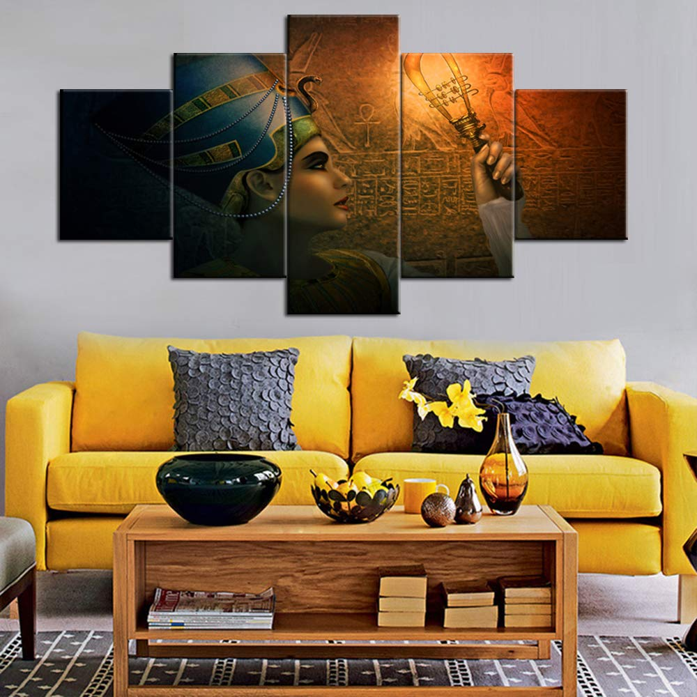 TUMOVO African Painting Ancient Egyp Wall Art Cleopatra Pictuers 5 Panel Canvas Modern Artwork Contemporary Home Decor for Living Room Giclee Wooden Framed Gallery Wrapped Ready to Hang(60''Wx32''H)