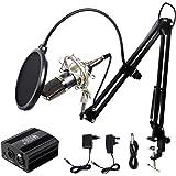Microphone à Condensateur XLR à 3,5 mm podcasting Studio Enregistrement Professionnel Kit micro avec Alimentation Fantôme 48V et Convertisseur AC EU Noir