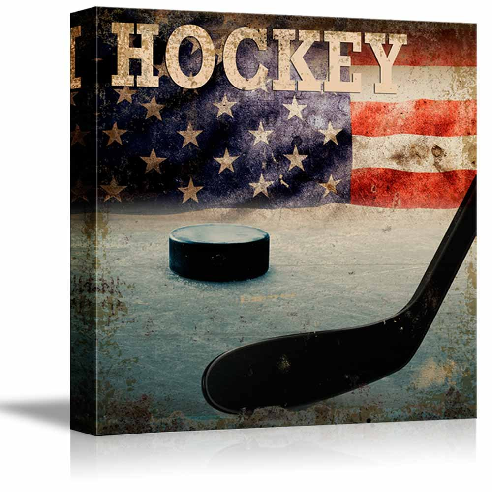 wall26 Rustic Hockey - Stick and Puck Vintage Wood Grain - Canvas Art Home Decor - 12x12 inches