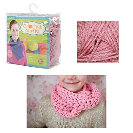 Amazon Com 1 Beginner Easy Yarn Crochet Knitted Scarf Kit Dusty