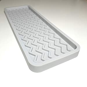 Silicone Kitchen Sink Organizer Tray, 12 inches x 4 inches, 9.2 ounces (LIGHT GREY)
