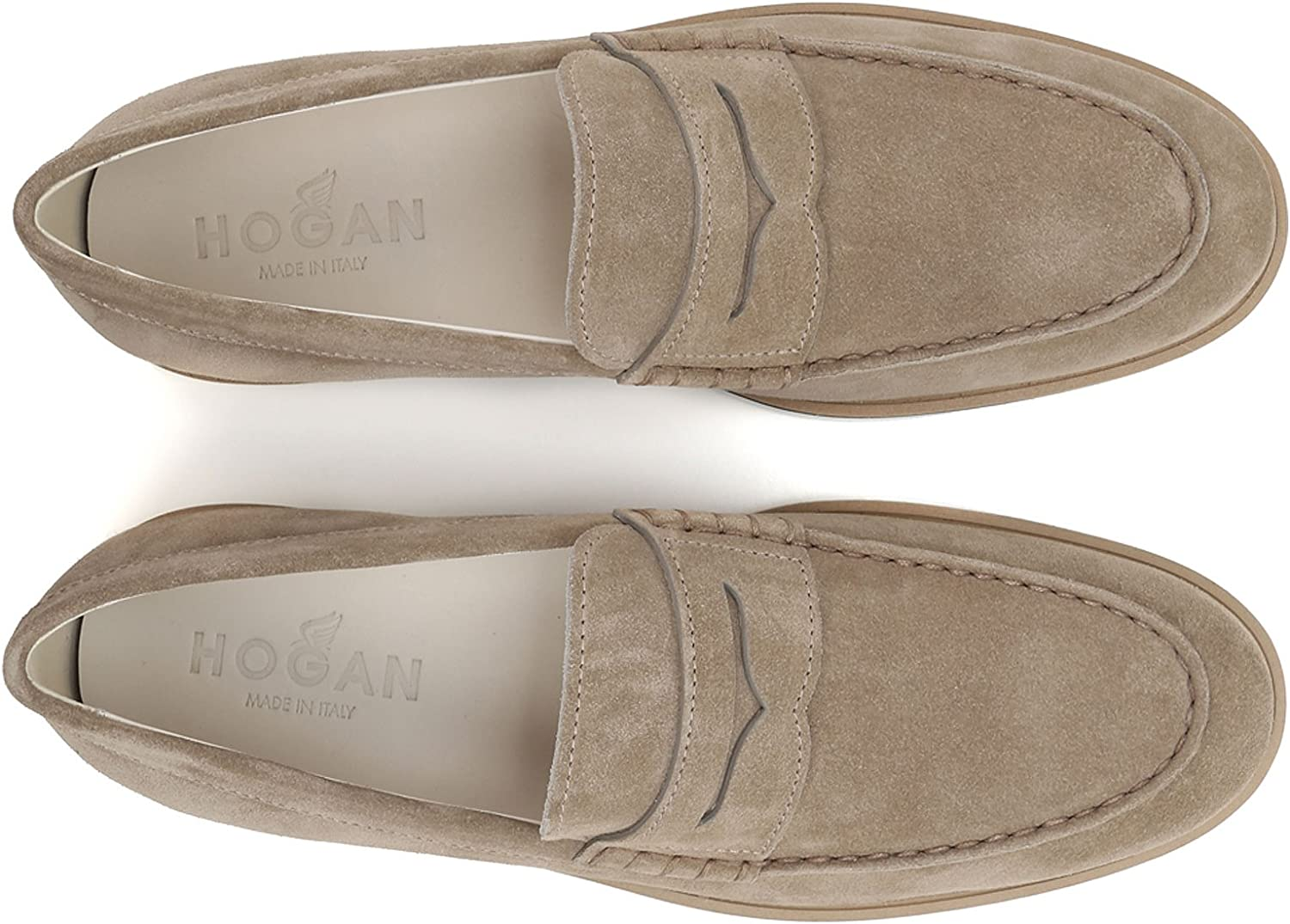 Hogan Mens Beige Suede Leather Loafers Shoes Size 7.5 US