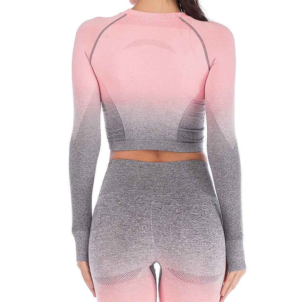 Nue Damen Sport Yoga Langarm Frauen Fitness Workout Mode Ombre Tops T-Shirt Sport T-Shirt Tunika