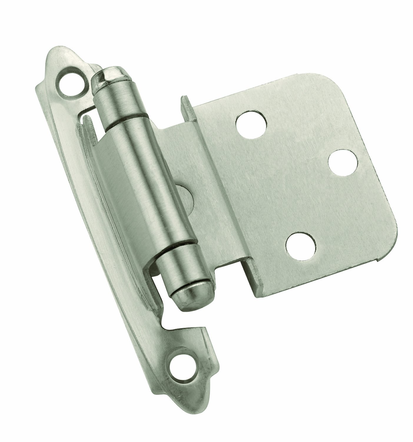 Amerock TEN3428G10 Self Closing Face Mount Hinge with 3 8in 10mm Inset Satin Nickel 10 Pack