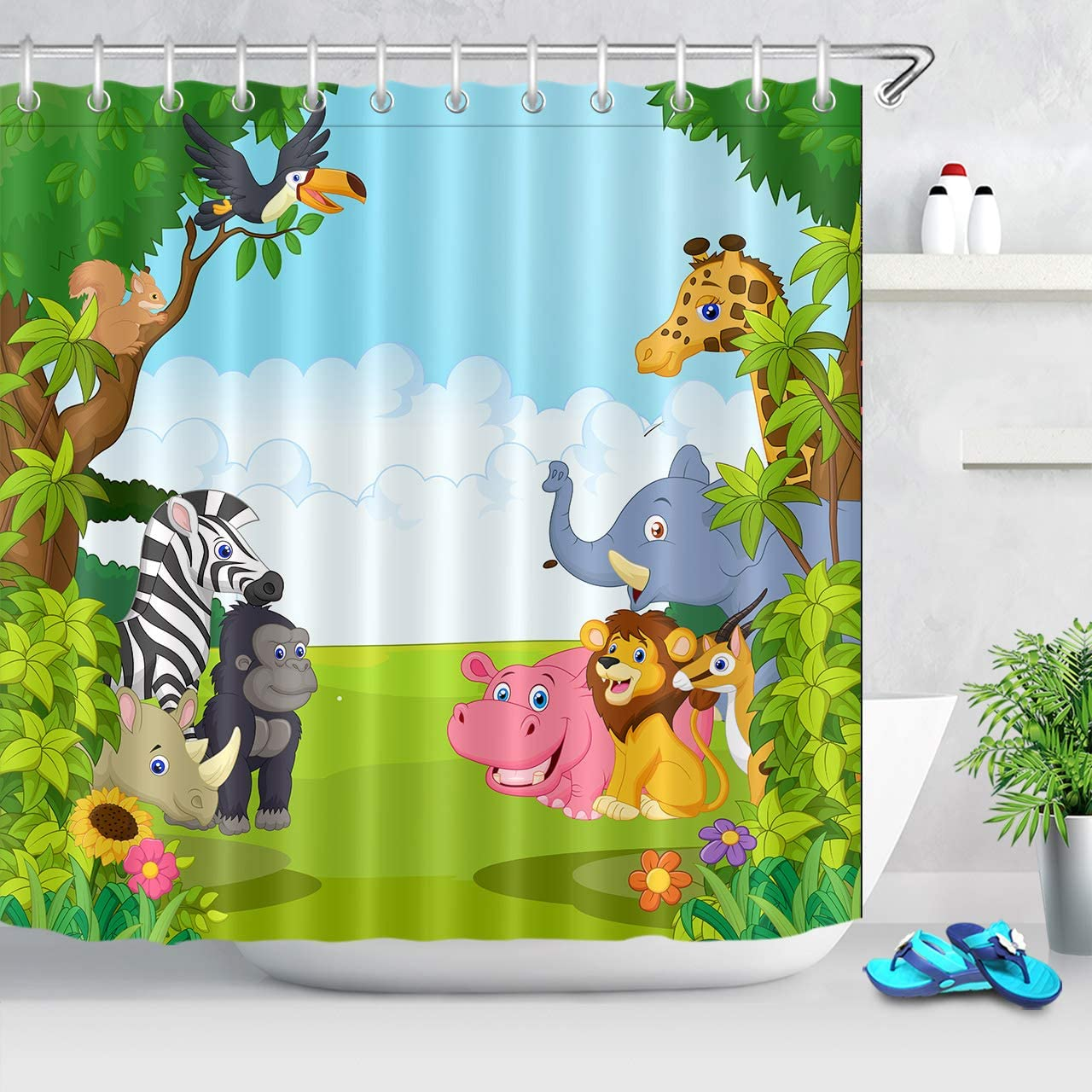 New Animal Hippo Bathroom Shower Curtain Art Cartoon Kids Bathtub Decor Liner