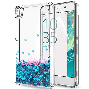 LeYi Funda Sony Xperia XA Silicona Purpurina Carcasa con HD Protectores de Pantalla Transparente Cristal Bumper Telefono Gel TPU Fundas Case Carcasas ...
