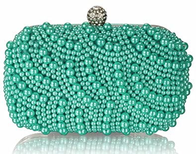 4fc4c08c798 Womens Vintage Emerald Green Beads Pearls Crystals Evening Clutch ...