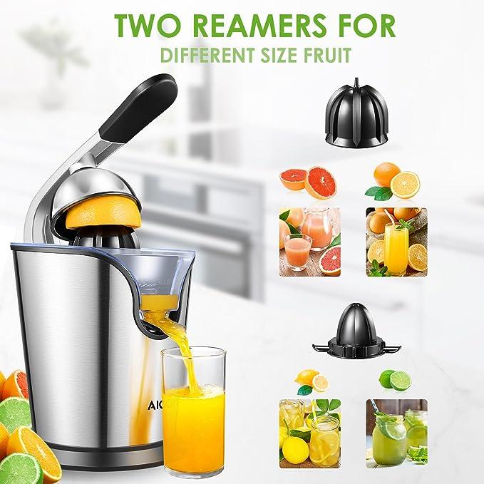 Exprimidor Zumo de Naranjas, Aicok Exprimidor Eléctrico para Cítricos Frutas 160W con Sistema Antigoteo Brazo Profesional Vertido continuo 2 Conos ...