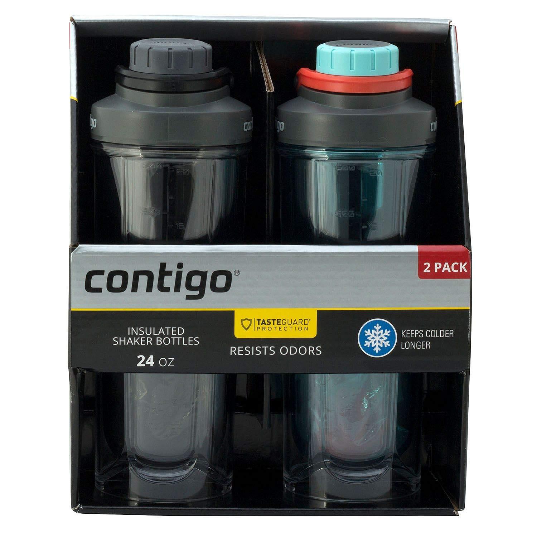 Contigo Insulated Shaker Bottles 24oz. 2 Pack Taste Guard Protection