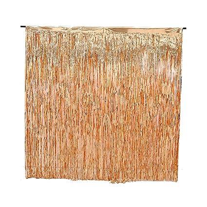 9ccbd77dece 2 Pack Rose Gold Foil Fringe Curtain Decoration - Metallic | Wedding | Hen  Party Bachelorette