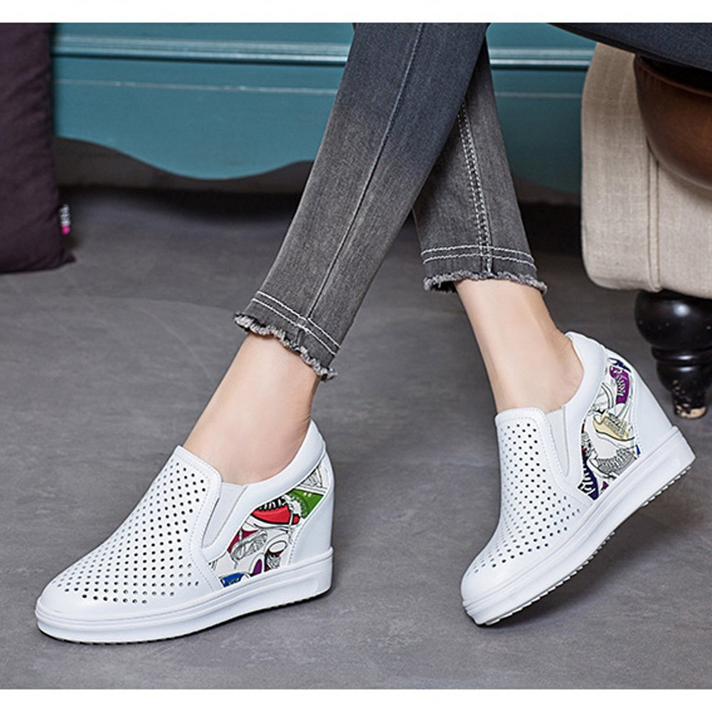 T-JULY Loafers Shoes Women for Women Shoes - Hollow Breathable Slip On Anti-Slip Increased Wedge Round Toe Penny B07BJ24KB9 Western 8c7006