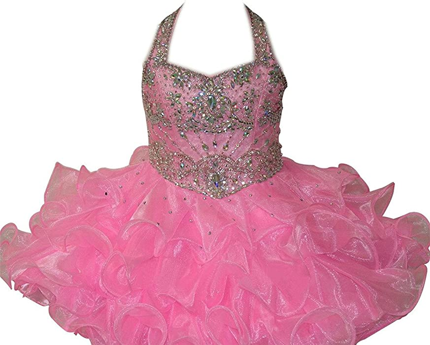 ad5a4aa9da227 MSJME Infant Girls  Halter Beaded Kids Gorgeous Pageant Cupcake Dress 1 US  Pink. Back. Double-tap to zoom