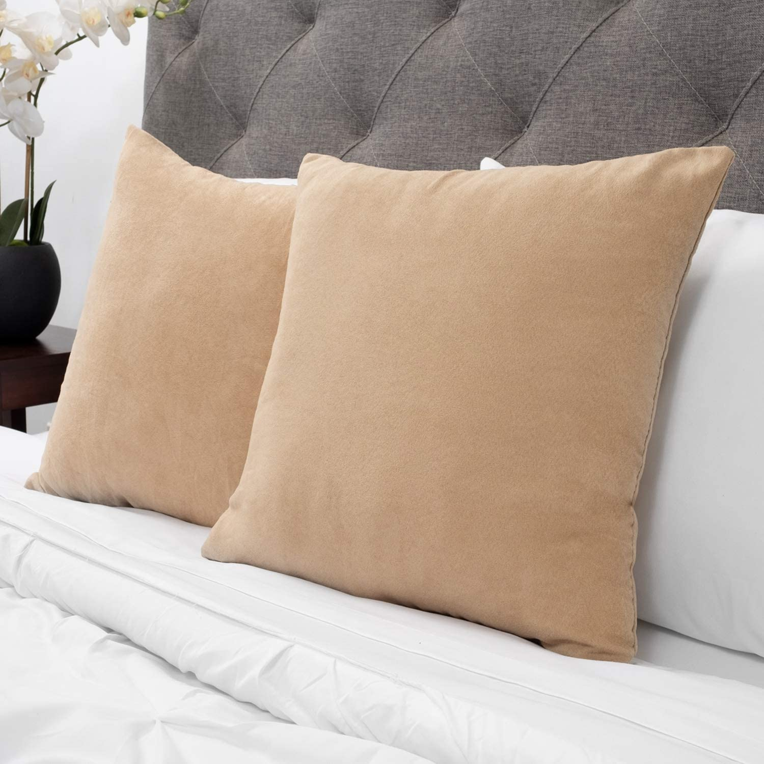 Sofa Sweet Home Collection Decorative Pillows 2 Pack Faux Leather Soft Throw Cushion Solid Color for Couch Chair 18 x 18 Coffee Brown Bed