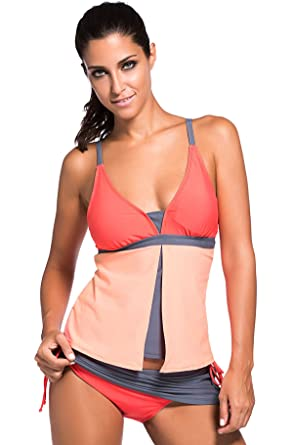1670c8b5c6a36 Fasnoya Color Block Tankini Skort Bottom Swimsuit: Amazon.in: Clothing &  Accessories