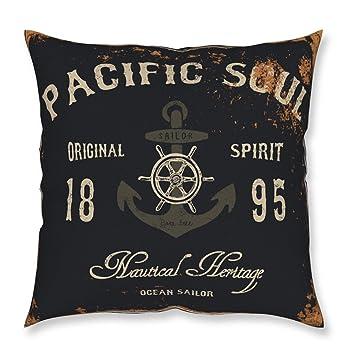 MyBUBO Pacific Soul Vintage Dekokissen Kissenhülle/Kissenbezug, Anker Meer Schwarz  Weiß Kissen Zierkissen 45x45cm