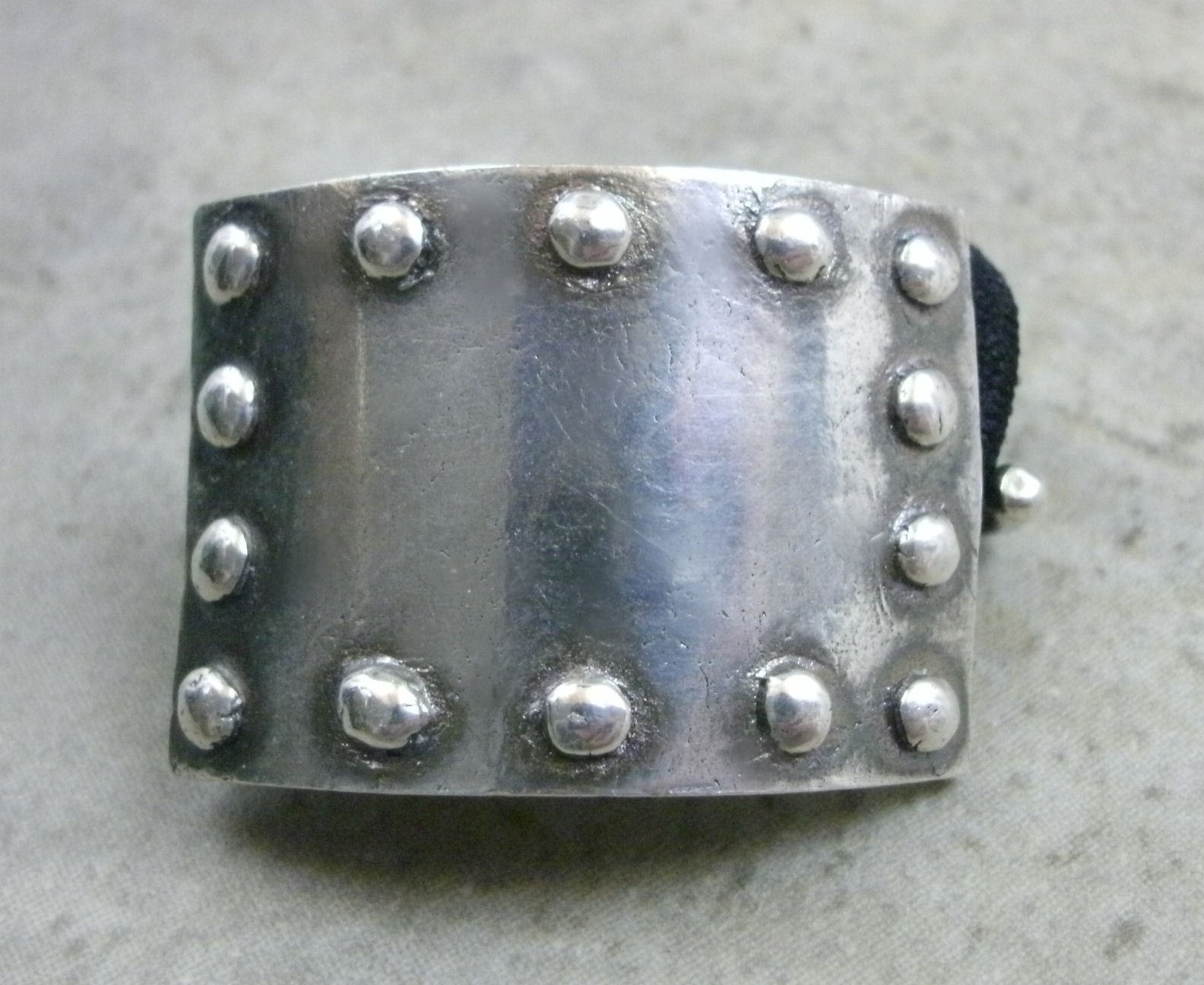 Fine Silver Ponytail Holder- Riveted Metal Plate- Industrial Jewelry by PartsbyNC