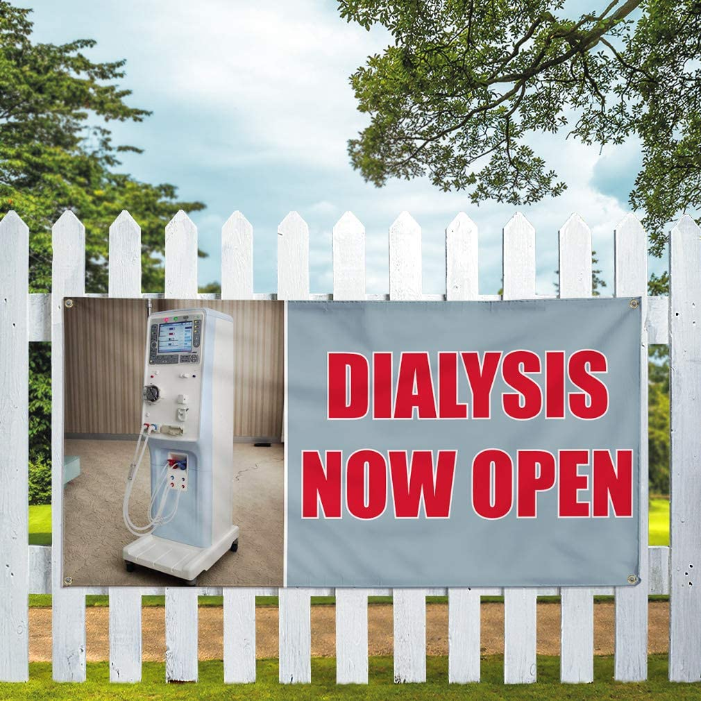 Vinyl Banner Multiple Sizes Dialysis Now Open Advertising Printing Business Outdoor Weatherproof Industrial Yard Signs 8 Grommets 48x96Inches
