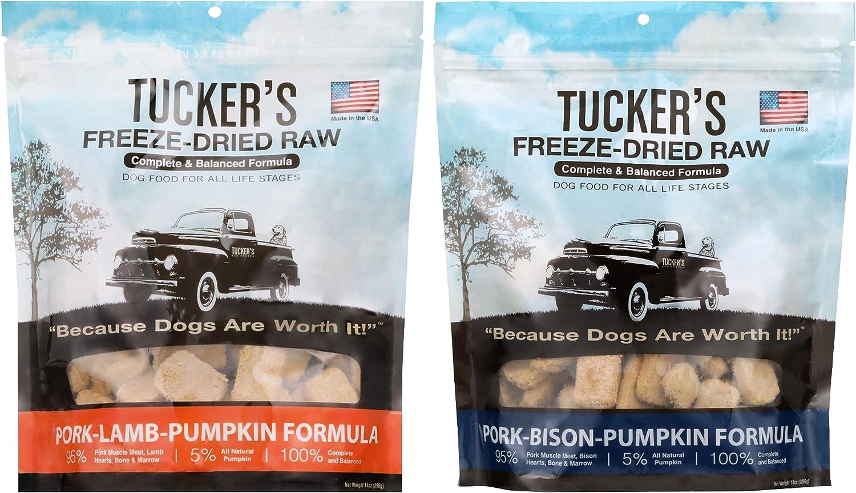 Tucker's Freeze Dried Raw Dog Food, Pork, Lamb & Pumpkin Formula and Pork, Bison & Pumpkin Formula, Red Meat Variety Pack of 2