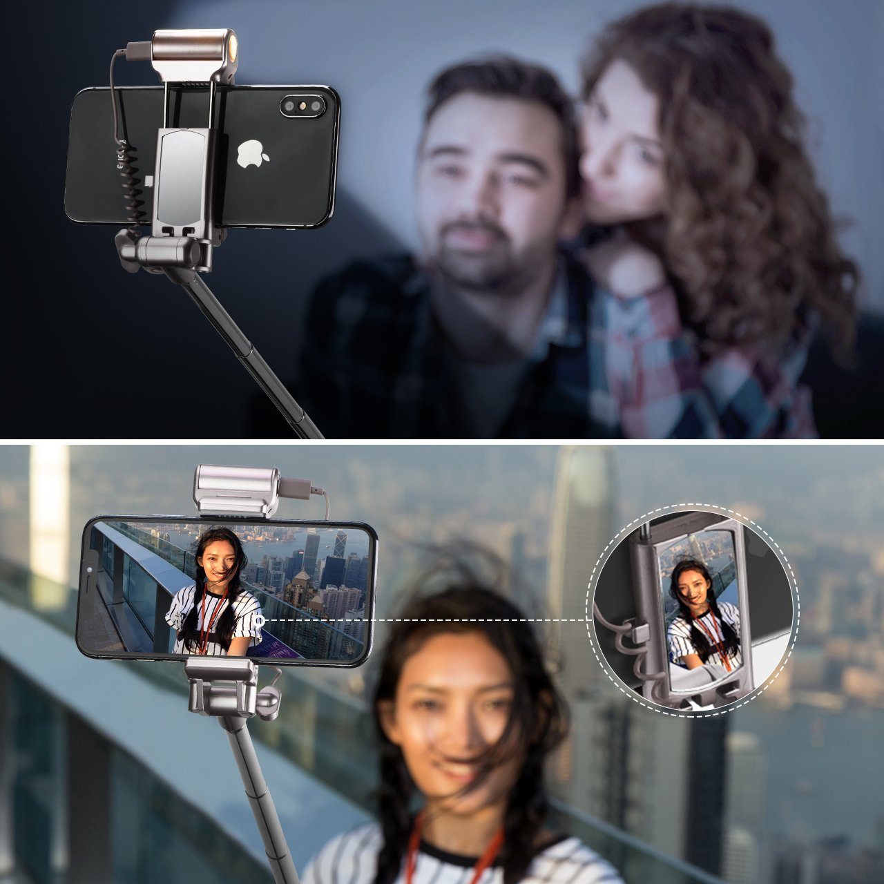 Mpow Selfie Stick Bluetooth, with 360 Degree Led Fill Light and Rear Mirror, Adjustable Head & a Carrying Bag, Fits for iPhone X/8/8P/7/7P/6s/6P/5S/SE, Galaxy S6/S7/S8/A7, Huawei and More by Mpow (Image #6)
