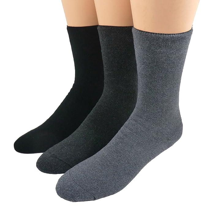 Diabéticos Termo calcetines sin goma Paquete De 3 - algodón, negro/antracita moteada/