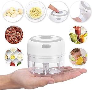 Electric Mini Garlic Chopper - Wireless Portable Mini Food Chopper - Onion Chopper, Vegetable/Veggie Chopper, Salad Chopper, Meat Chopper - Mini Food Processor - Masher Tool & Smasher Tool 3.5oz