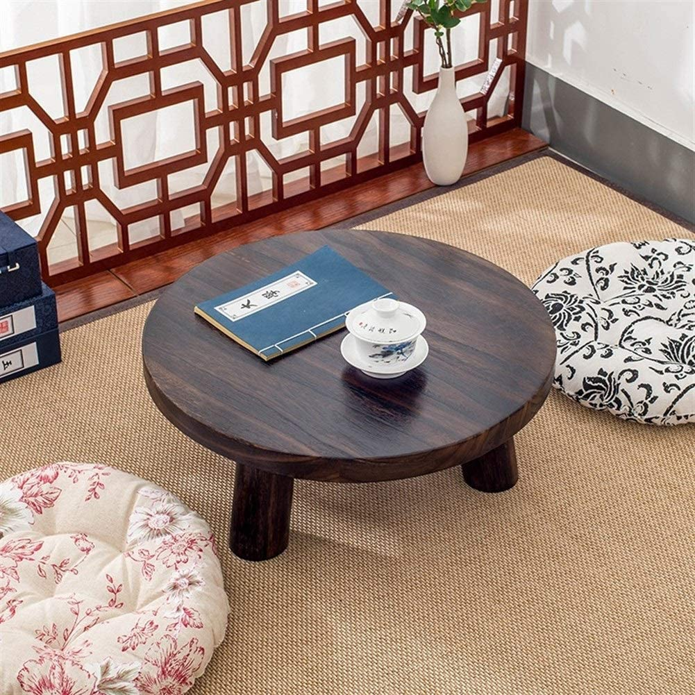 Portable Multi-Function Home Office Hotel Bedroom Living Room Coffee Table Wooden Low Round Side Table Personality Bedside Corner Side Table Color : Charcoal, Size : 40cm in diameter