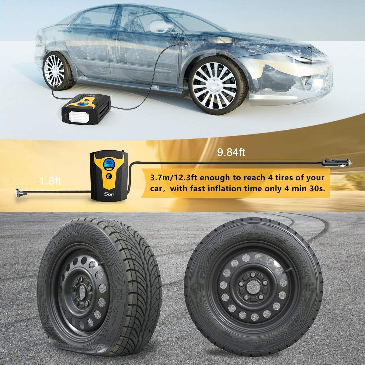 Skey Air Compressor Tire Inflator Electric Auto Pump 12V DC Portable Air Compressor Pump Digital Tire Inflator Car Tire Pump