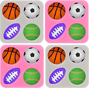 Whaline 4Pcs Sports Ball Fondant Mold Silicone Pink & Gray Ball Candy Mold Football Baseball Basketball Rugby Mold for Chocolate Cake Cupcake Topper Decoration Resin