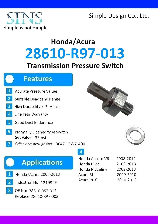 Honda Accord Pilot Ridgeline Acura RDX RL Transmission Pressure Switch 28610-R97-013 28610-R97-003 SINS