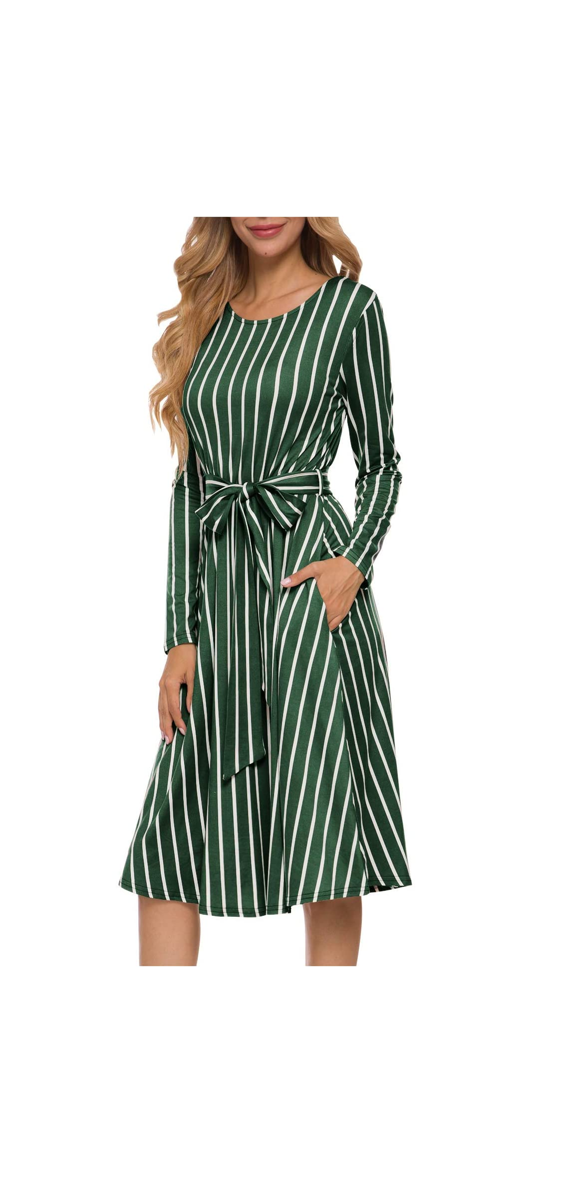Women's Flowy Striped Long Sleeve Pocket Modest Work Midi