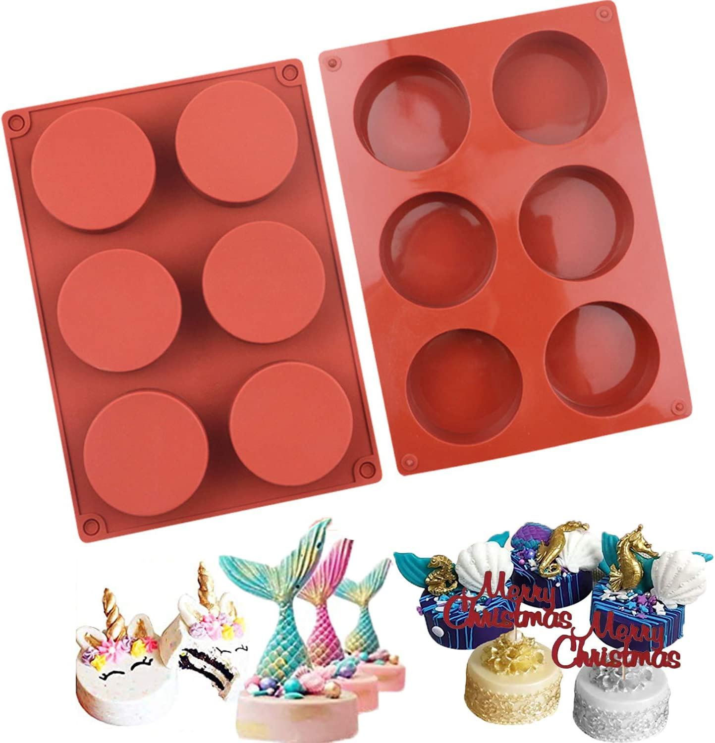 6 Holes Round Cylinder Silicone Mold for Chocolate Cookie Molds Jelly, Cake,Food Grade Silicone,Non-stick, Xmas Family DIY Time,Dia 2.24