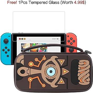 Funda Nintendo Switch, Nintendo Switch Funda de Transporte de Silicona Legend of Zelda 12 Ranuras para Tarjetas de Juego Sheikah Slate diseñado antigolpes Bolsa Grande de Viaje para Consola y Joy-con: Amazon.es: