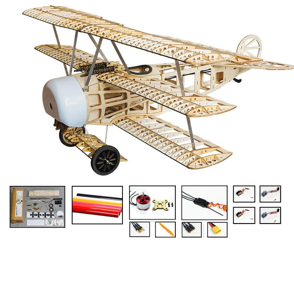 RC飛行機キットFokker Dr.1模型飛行機、大人用の30インチウィングスパンレーザーカットBalsaウッド飛行機キット、DIY電動趣味飛行機ラジコン飛行機 (キット+モーター+ ESC +サーボ+カバーフィルム) B07S2K7CMQ  キット+モーター+ ESC +サーボ+カバーフィルム