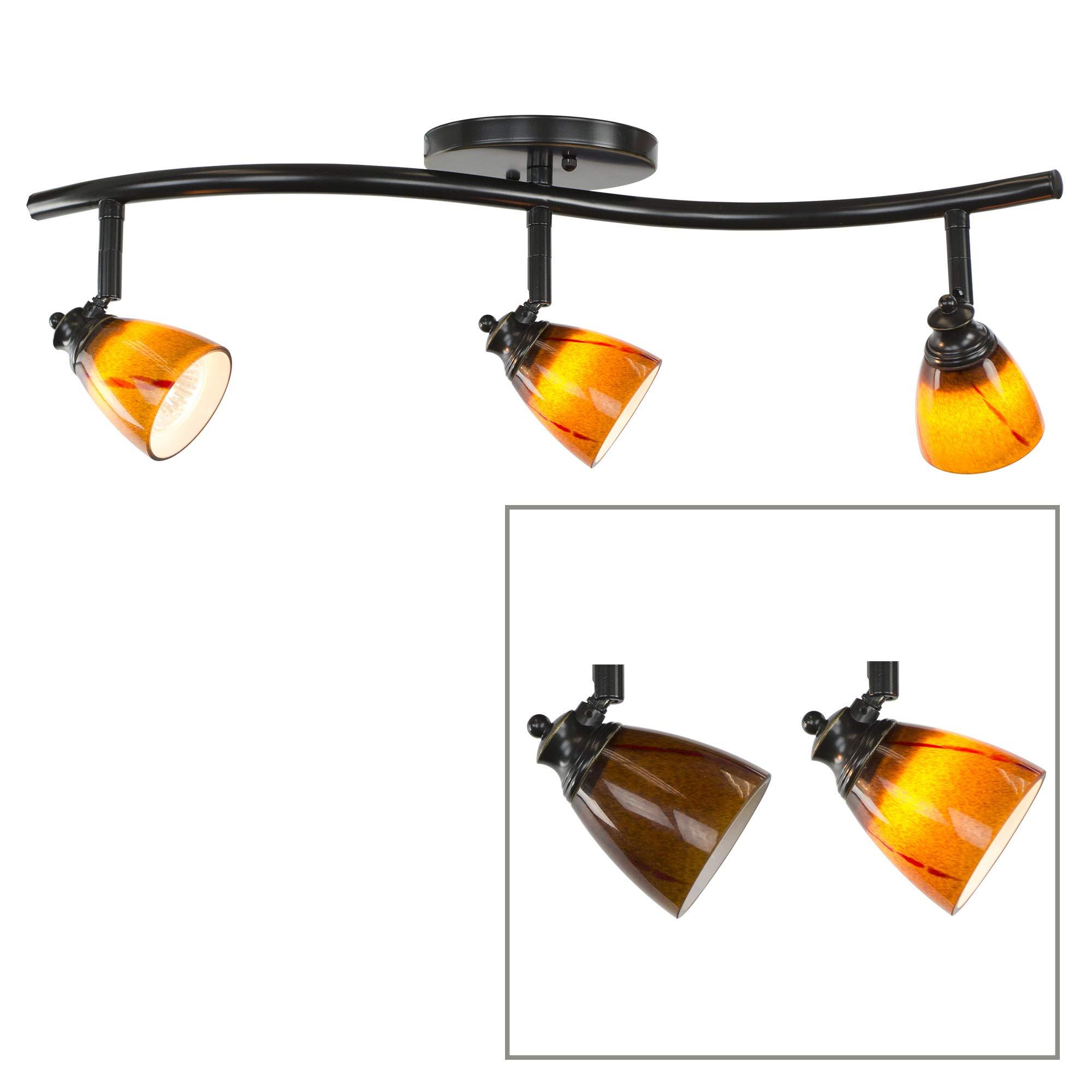 Direct-Lighting 3 Lights Adjustable Track Lighting Kit - Dark Bronze Finish - Amber Glass Track Heads - GU10 Bulbs Included. D268-23C-DB-AMS by Direct-Lighting