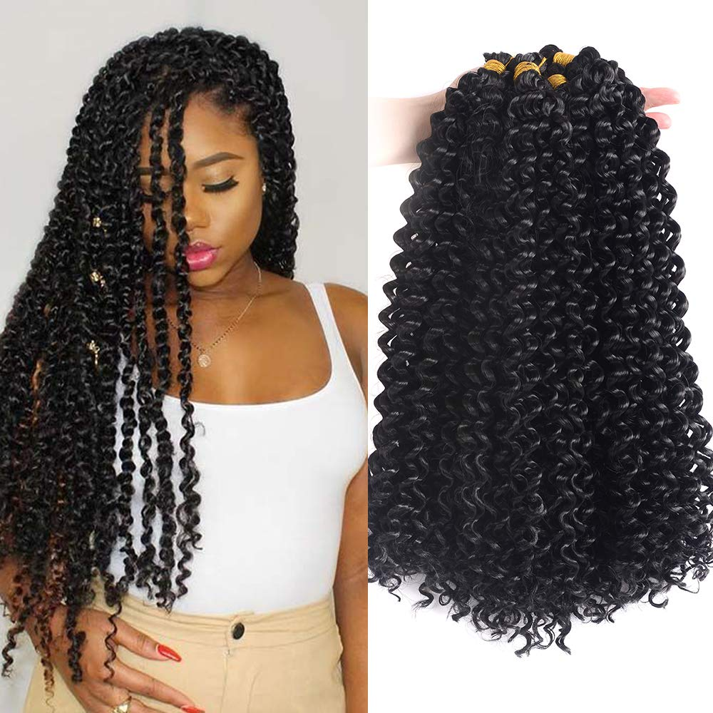 Amazon Com Cadiro Hair 18 Inch Long Marlybob Water Wave Crochet Braids Hair Extensions 7 Packs Lot Ombre Synthetic Twist Braiding Hair Afron Kinky Curly Jerry Curl Crochet Hair For Black Women Beauty