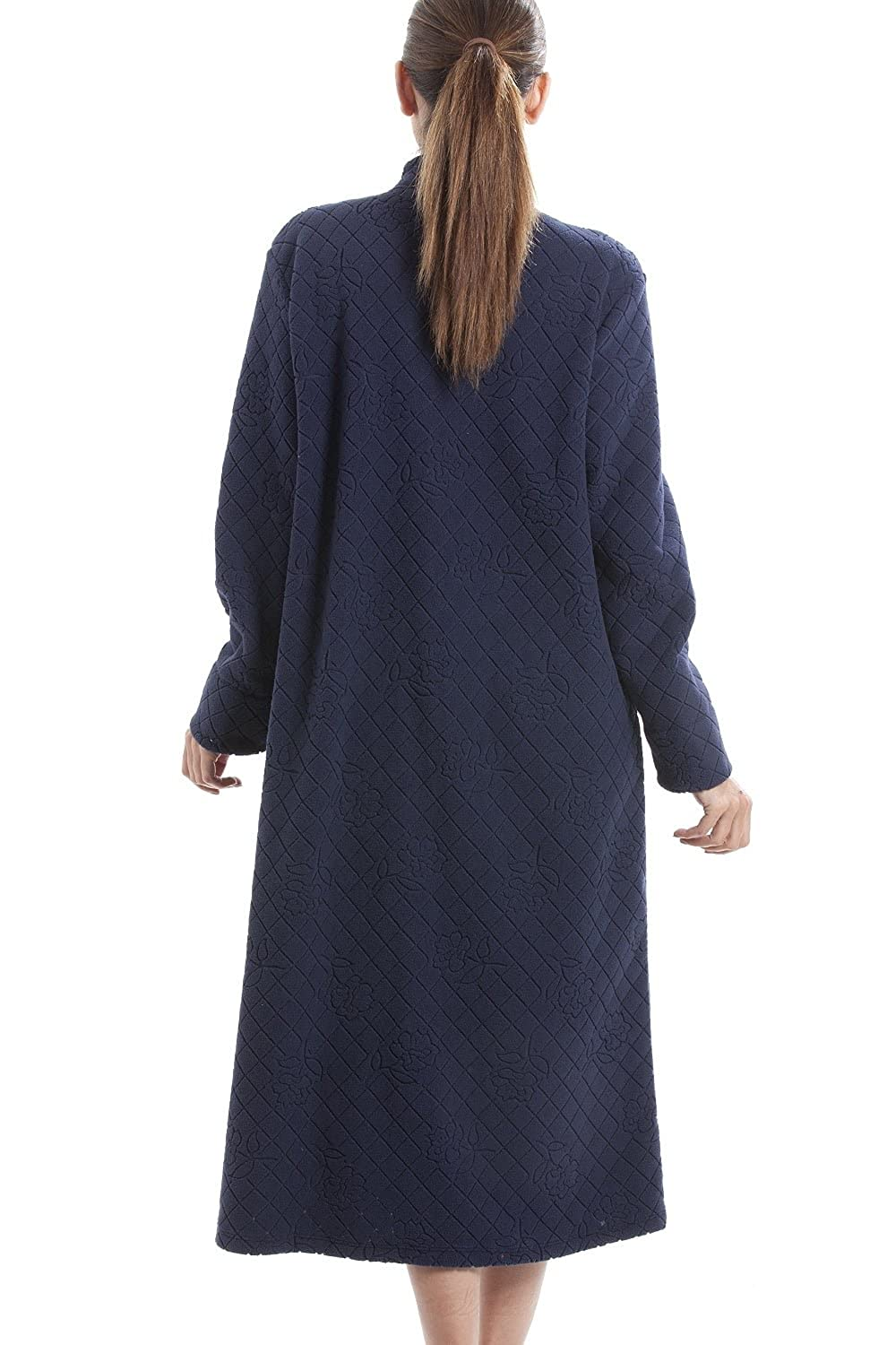 Camille Navy Soft Fleece Floral Full Length Button Up Housecoat at Amazon Womens Clothing store: