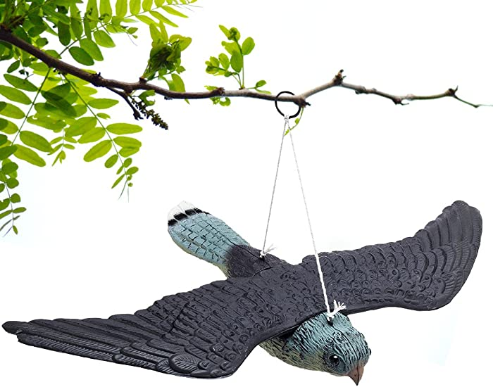 BRITENWAY Premium Bird Repellent Fake Flying Hawk Decoy Hanging Lifelike Predator Scarecrow Diverter with Wings for Easier Storage – for Birds, Mice, Squirrels, Rabbits & Other Birds Or Rodents